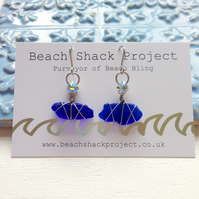 Cobalt Bling Sea Glass Earrings