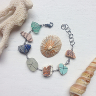 Sea glass & sea pottery crystal bracelet - coral blues