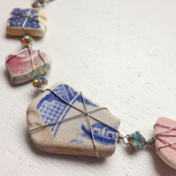 Boat Necklace Sea Pottery and crystal necklace