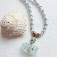 Little Aqua Star sea glass and crystal necklace