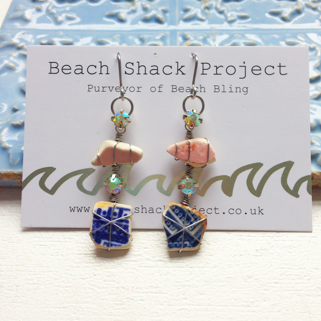 Pink and blue sea pottery and crystal earrings