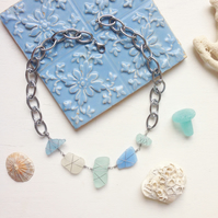 Milk Glass Sea Glass necklace