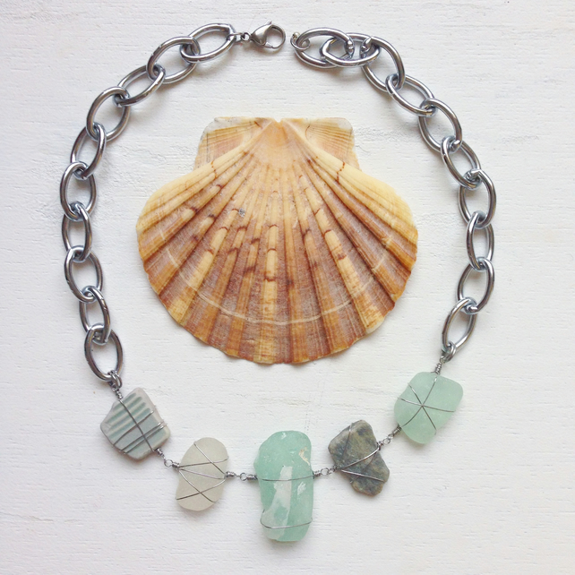 WAS 40 NOW 30 Organic glass necklace, sea glass, beach stone and ceramic