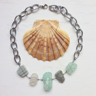 Organic glass necklace, sea glass, beach stone and ceramic