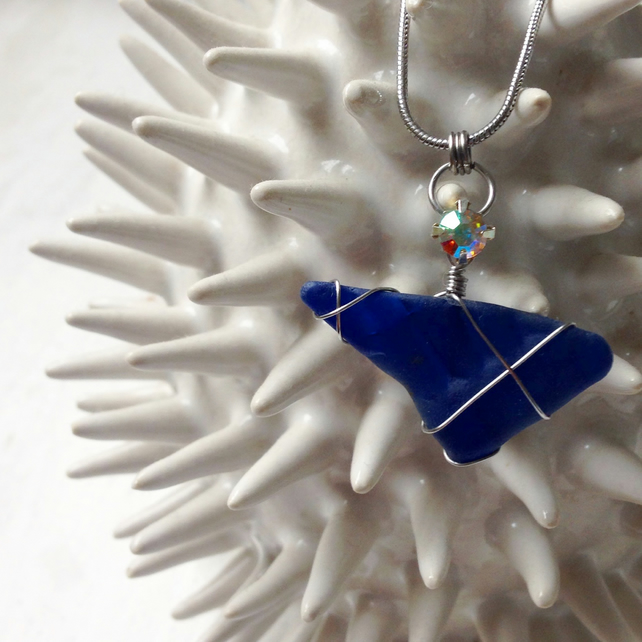 Cobalt Star Sea Glass Necklace