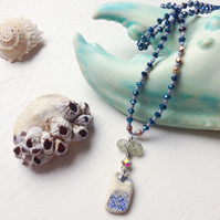 Long ceramic and sea glass beaded boho necklace