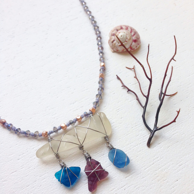 Pretty purple and blue sea glass necklace