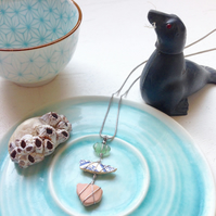Candy sea pottery and sea glass drop necklace