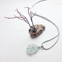 Aqua star sea glass pendant on chain