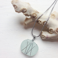 Double aqua star sea glass pendant on chain necklace