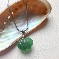 Moss green sea glass star pendant on chain necklace