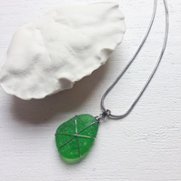 Emerald star sea glass pendant on chain necklace