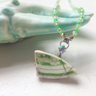 Long summer beach necklace, lime green sea pottery and crystal