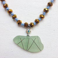 Sparkly beaded blue sea glass necklace