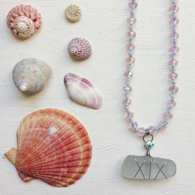 Summer beach necklace with crystal and Lilac sea glass necklace