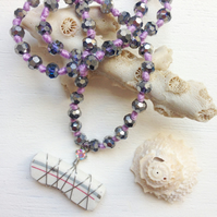 Simple stripe sea pottery and lilac sparkle necklace