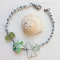 Pretty ceramic and sea glass sparkly beach summer friendship bracelet