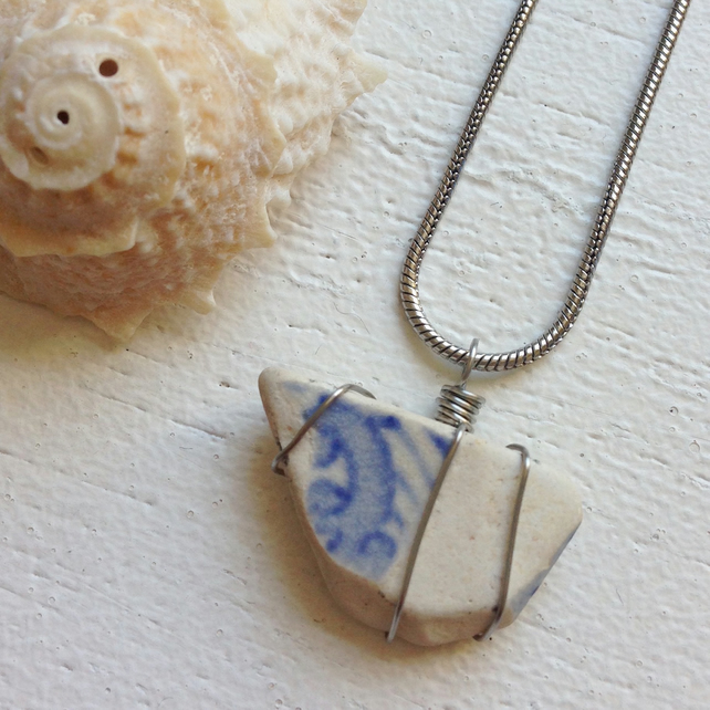 Pretty Blue and white beach ceramic sea pottery necklace