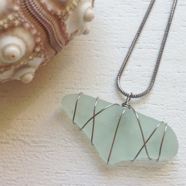Pretty aquamarine sea glass necklace
