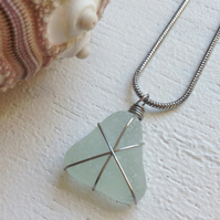 Aquamarine star sea glass necklace
