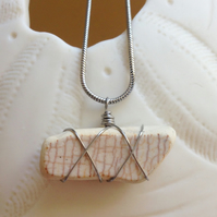 Crackled glaze sea pottery necklace