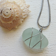 Pretty aquamarine sea glass chunky bean necklace