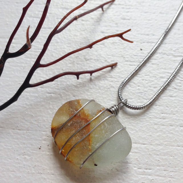 Safety glass sea glass necklace