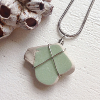 Peppermint Star sea pottery beach necklace