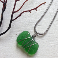 emerald star sea glass necklace