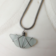 Beautiful sky blue sea glass necklace