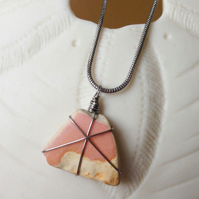 Candy floss pink sea pottery necklace