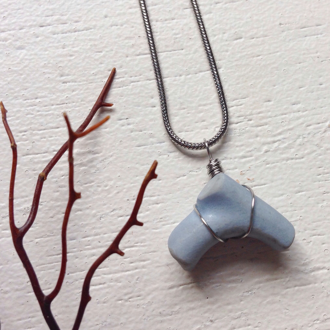 Chalky blue teacup handle sea pottery necklace
