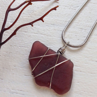Aubergine purple sea glass necklace