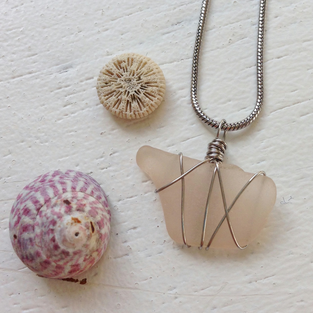 Rose pink sea glass necklace