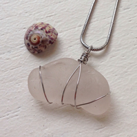 Pale lilac sea glass necklace