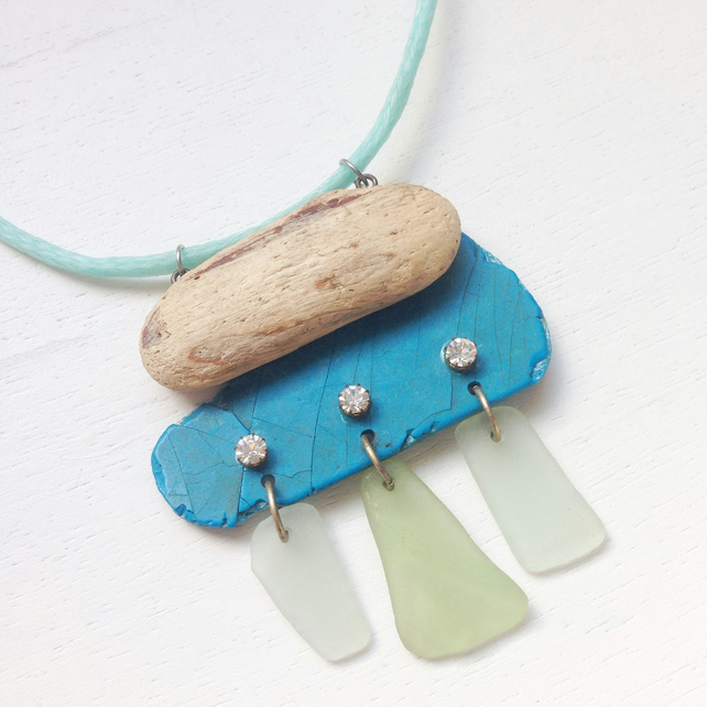 Tribal style eco beach necklace made with sea glass, driftwood and sea plastic