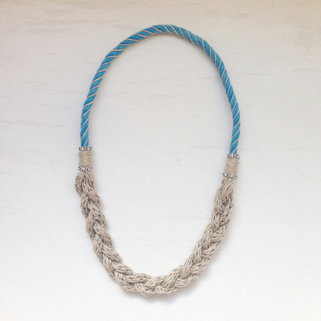 Reclaimed fishing nylon and organic hemp rope necklace