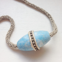 Knitted organic hemp and beach buoy necklace