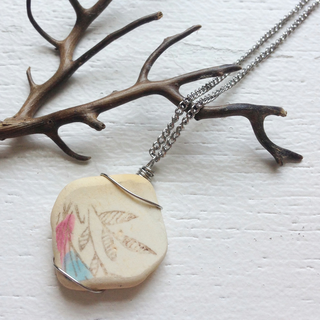 Pink and Blue leaves sea pottery ceramic wire wrapped necklace
