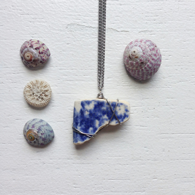 Blue and white ceramic sea pottery boho necklace