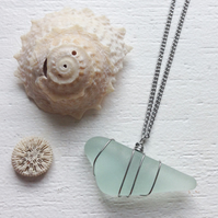Minimal wrap chunky aquamarine sea glass wire wrapped boho necklace
