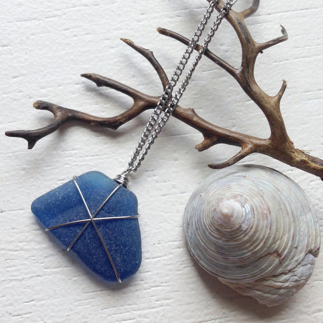 Rare inky blue sea glass necklace