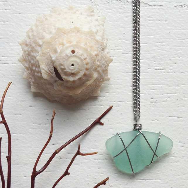 Bright aquamarine sea glass wire wrapped necklace