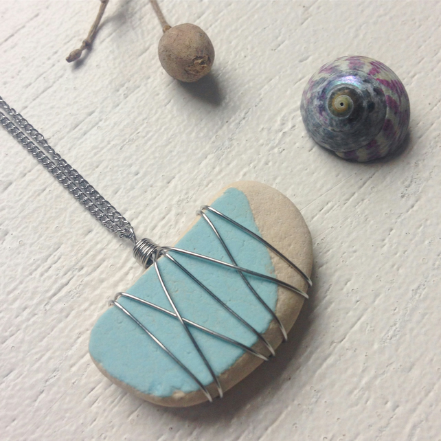 Baby blue sea pottery necklace