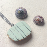 Pale mint green sea pottery necklace