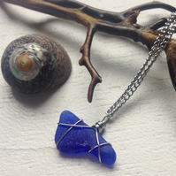 Unusual irregular shaped cobalt sea glass necklace