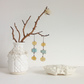Yellow stone and blue ceramic sea pottery dangly earrings