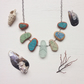Blue and green sea pottery and glass necklace