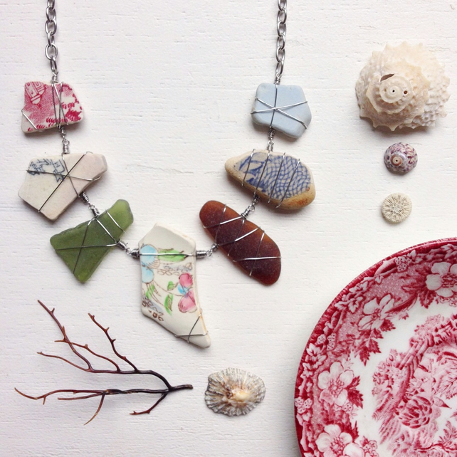 Granny's Garden floral sea pottery and sea glass necklace