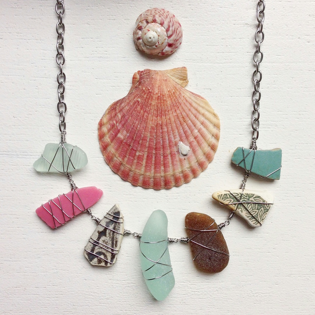 Rose milk glass and ceramic sea pottery necklace